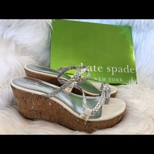 Kate Spade silver white Bali cork wedge sandal 7